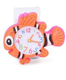 Analog Wrist Watch Fish Shape Dial - Light Orange White
