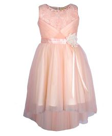 Cutecumber Sleeveless Party Wear Frock Floral Applique - Peach