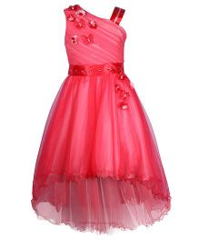 Cutecumber Sleeveless Party Wear Frock Floral Applique - Red