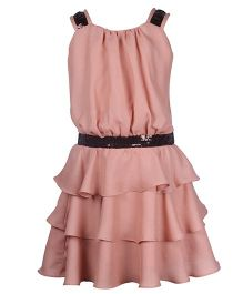 Cutecumber Sleeveless Party Wear Layered Frock Sequin Work - Peach