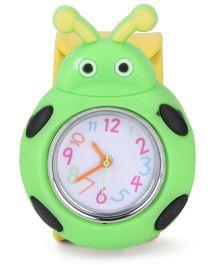 Analog Wrist Watch Beetle Shape - Yellow Green