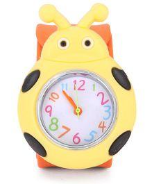 Analog Wrist Watch Beetle Shape - Yellow Orange