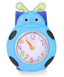 Analog Wrist Watch Beetle Shape - Blue