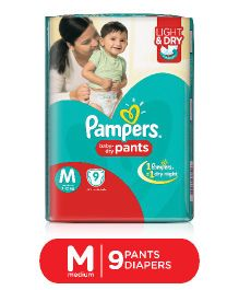 Pampers Pant Style Diapers Light And Dry Medium - 9 Pieces