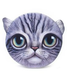 Dimpy Stuff Big Eyes Cat Cushion With Support Foam - Grey
