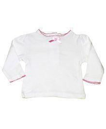 Kiwi Full Sleeves Plain Laced Neck Top - White