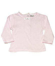 Kiwi Full Sleeves Plain Laced Neck Top - Pink