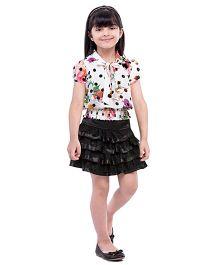 Tiny Baby Top & Skirt Set - White & Black