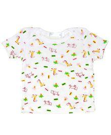 Kiwi Animal Print Half Sleeves T Shirt - White