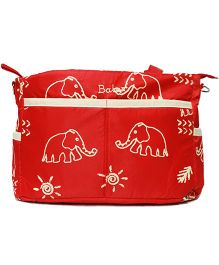 Kiwi Diaper Bag With Changing Mat Elephant Print - Red