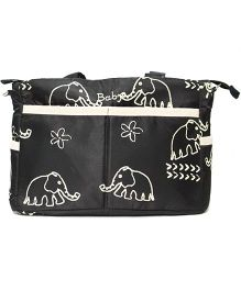 Kiwi Diaper Bag With Changing Mat Elephant Print - Black