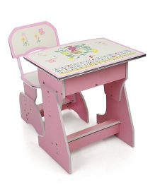 Kids Study Table With Chair Cartoon Print - Pink