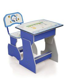 Kids Study Table With Chair Cartoon Print - Blue