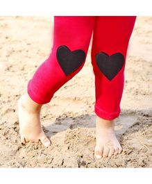 D'chica Two Little Hearts Leggings - Dark Pink