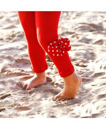 D'chica Pretty Bow On The Side Leggings - Red