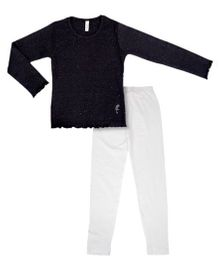 Raine And Jaine Trendy Tunic And Leggings Set - Black & White