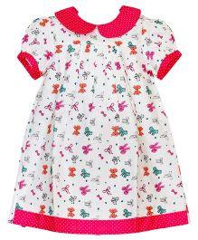 Mom's Girl Bow Print Dress - White