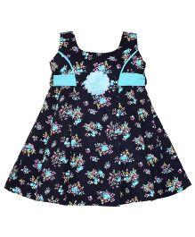 Mom's Girl Floral Print Dress - Navy Blue