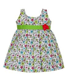 Mom's Girl Floral Dress With Belt - White & Green
