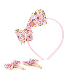 Hopscotch Hairband And Clips Combo Set Bow Applique - Pink