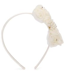 Hopscotch Hairband Bow Applique - Off White