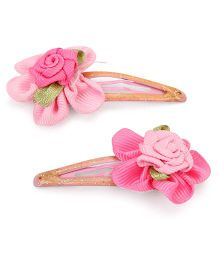 Hopscotch Snap Clips Floral Design - Pink