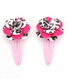 Hopscotch Snap Clips Animal Print - Pink