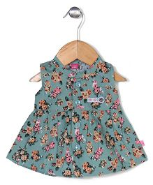 Wow Girls Sleeveless Frock Floral Print - Green