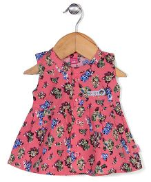 Wow Girls Sleeveless Frock Floral Print - Pink