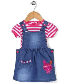 Wow Girls Dungaree Frock with Top Bunny Patch - Blue and Pink