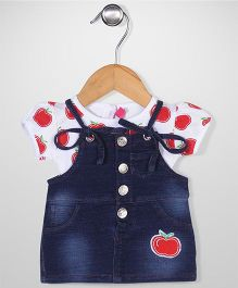 Wow Girls Frock With Top Apple Patch - White Blue