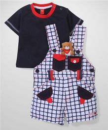 Wow Dungarees with T-Shirt Teddy Applique - Blue and White