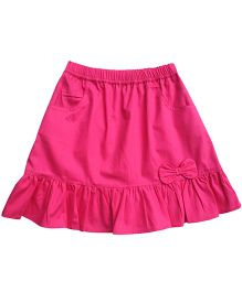 Campana Skirt With Bow Applique - Dark Pink