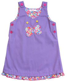 Campana Sleeveless Butterfly Applique Pinny Dress - Purple