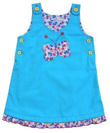 Campana Sleeveless Butterfly Applique Pinny Dress - Blue