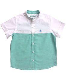 Campana Half Sleeves Dual Color Shirt - Green And White