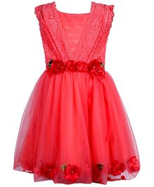Cutecumber Sleeveless Partywear Flared Frock Floral Applique - Red