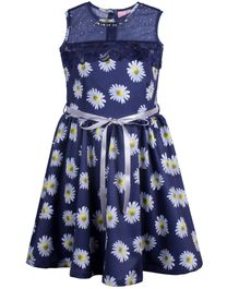 Cutecumber Sleeveless Party Wear Frock Floral Print With Tie Up Belt - Navy