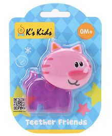 K's Kids Teether Friends Cat - Pink And Purple