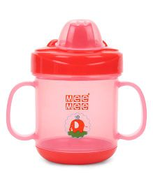 Mee Mee Twin Handle Non Spill Feeding Cup With Dust Free Cover Red - 180 ml