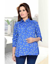 Mama & Bebe Long Sleeves Maternity Shirt - Blue
