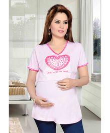 Mama & Bebe Half Sleeves Maternity Top - Light Pink