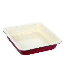 Wonderchef Carbon Steel Square Cake Mould - White & Maroon