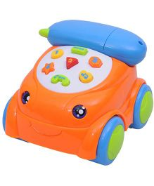Happy Kids Musical Remote Controlled Telephone Car Toy - Orange And Blue