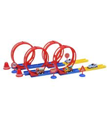 Happykids Racecar Stunt Track with Four 360 Degree Loops - Multicolor