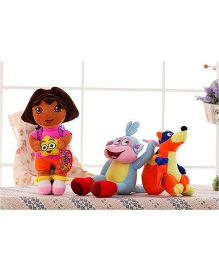 Kuhu Creation Dora Soft Toy Doll Set 3 Pieces Multicolor - 30 cm