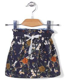 Miss Pretty Floral Print Skirt - Blue
