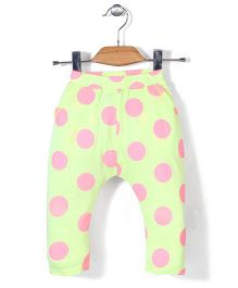 Miss Pretty Dot Print Leggings - Green & Pink
