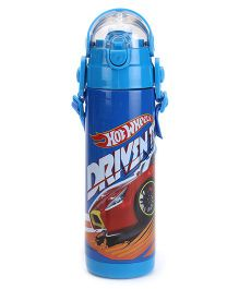 Hot Wheels Thermo Push Button Sipper Bottle - Blue