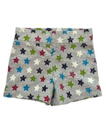 CrayonFlakes Star Print Melange Fleece Shorts  - Grey